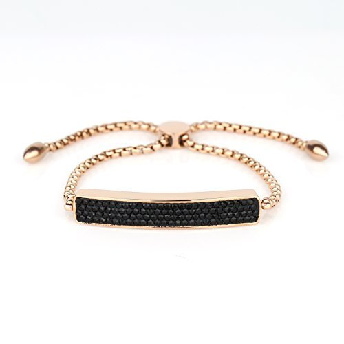 UNITED ELEGANCE Rose Tone Bolo Bar Bracelet With Black Swarovski Style Crystals
