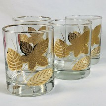 Libbey Gold Leaves Old Fashioned Tumbler Glassware Cocktail Rocks Glasses - $21.19