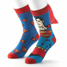 2 Pairs DC Comics Superman Socks with Cape and Symbol Men's Sock Size 10... - $13.57