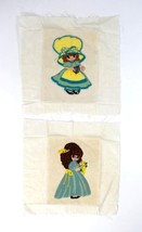 Vintage Set of 2 Handmade Needlepoint Little Miss Muffin Patch Retro Tex... - $9.89