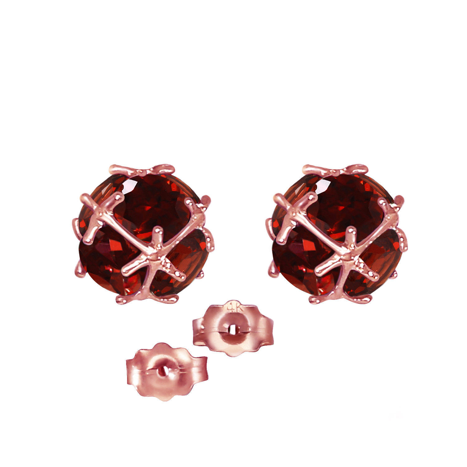 Primary image for 14K Solid Rose Gold Women's Gorgeous Stud Fashion Earrings w/ Natural Garnets