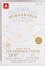 4 Pack Wondershop 30ct Christmas LED Dewdrop Lights Warm White Silver Wire NEW image 2