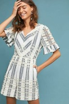 New Anthropologie Striped Eyelet Romper by  Ett:twa $128  SIZE 6 CARBON  - $57.42