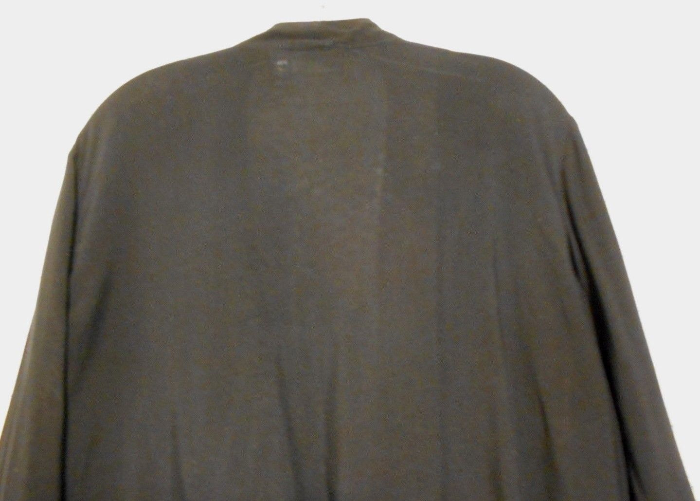 Chico's 2 Black Rayon Draped Front Collar 3/4 Sleeve Zipper Front Pocket Jacket