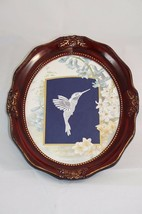 "Vintage Framed Matted Hummingbird Belgium Lace Wall Decor 9.5""x11.5"" - $28.54"