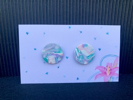 Polymer Clay White Blue and Pink Marbled Stud Earring - $6.50