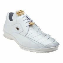 Belvedere Mens Vasco Genuine Hornback Crocodile  Soft Calf sneaker white... - €310,09 EUR