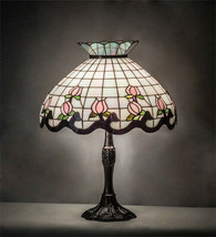 Tiffany Style Stained Glass Table Lamp with Rosebud Lamp Shade on Bronze Base - $1,054.35