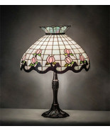Tiffany Style Stained Glass Table Lamp with Rosebud Lamp Shade on Bronze... - $1,054.35