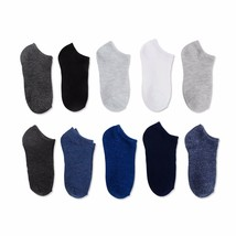 Walmart Brand Boys No Show Socks Solid Colors 10 Pair Large Shoe Size 4-10 - $9.79