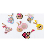 LINE Friends CHOCO Mirror Embroidery Key Ring Bag Charm Deco Chain Acc 7... - $48.99