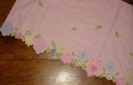 Pottery Barn Kids Pink Floral Garden Window Valance W Appliqued Flowers Leaves - $21.75