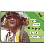 ACEO ATC Art Card Collage Original Ladies Women Nice Outfit Hat Clown Di... - $5.00