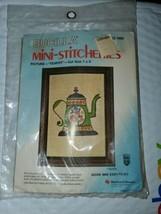 """Bucilla Mini-sticheries """"Teapot"""" KIT 1992 [New in Package] Cut Size 7"""" × 9"""" - $14.80"""