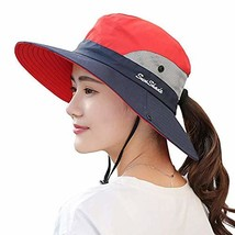Ponytail Women's Summer Sun Bucket Hats UV Protection Safari Hiking Wide... - $11.25