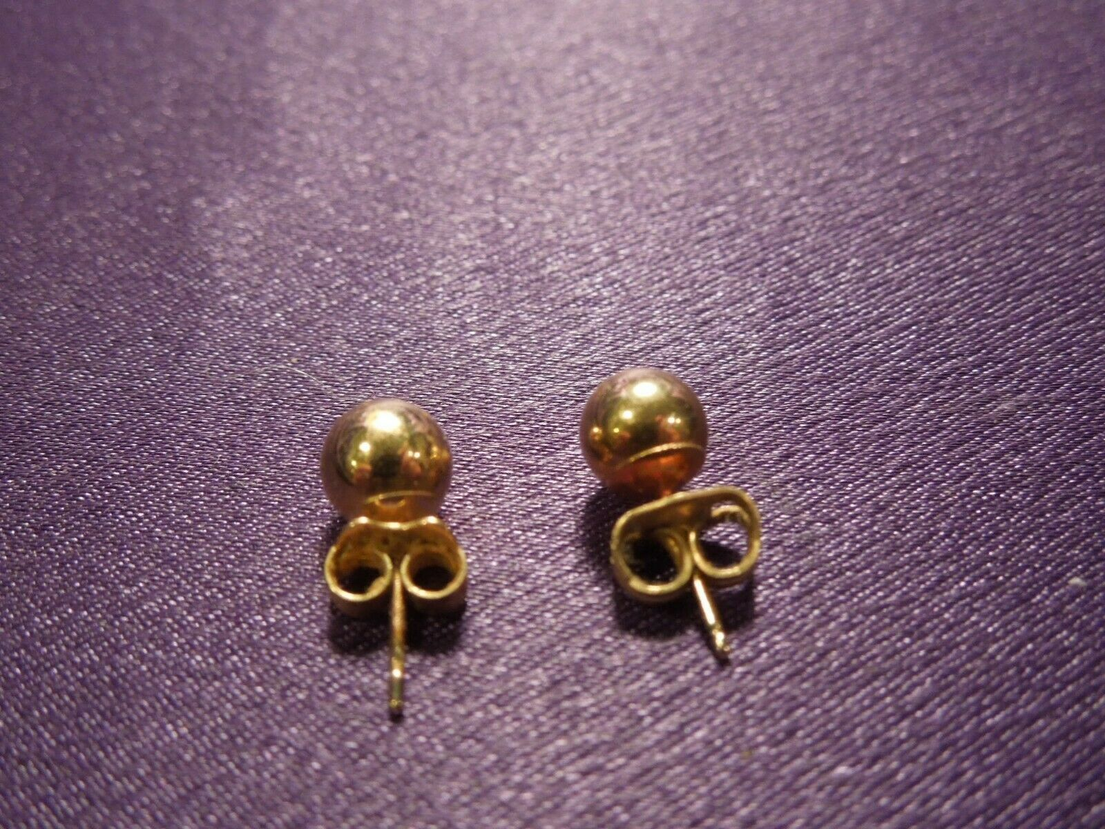 14K Gold Ball Stud Earring Pair image 3