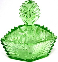 "Art Deco Vaseline  Uranium Glass 2 Pc Vanity Trinket Dish w/ Lid Green 6"" - $67.49"