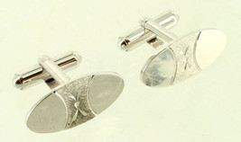 Vintage 1950'S Sterling Mid Century Sleek Oval Florentine & Engraved Cufflinks - $72.89