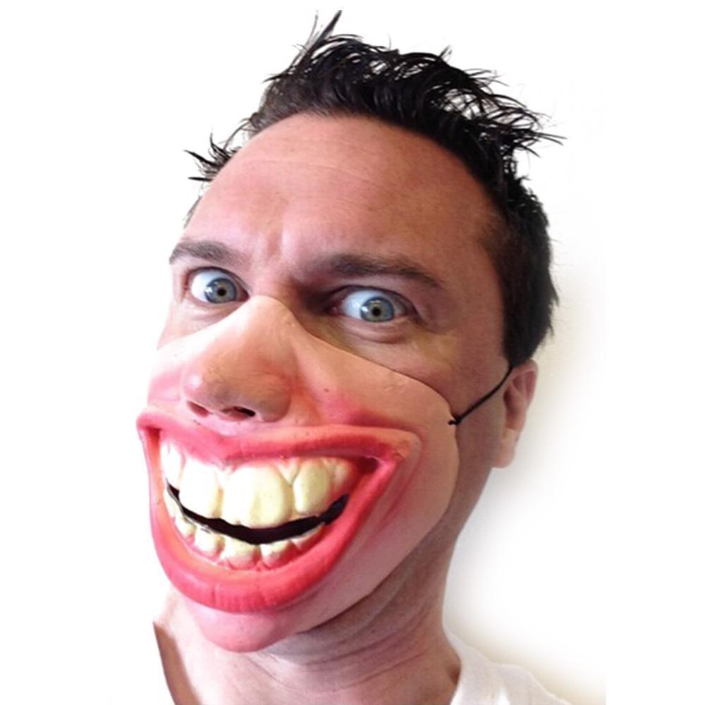 Big Teeth Face Party Mask Halloween Fancy Half Scary Cosplay Latex Funny Mouth