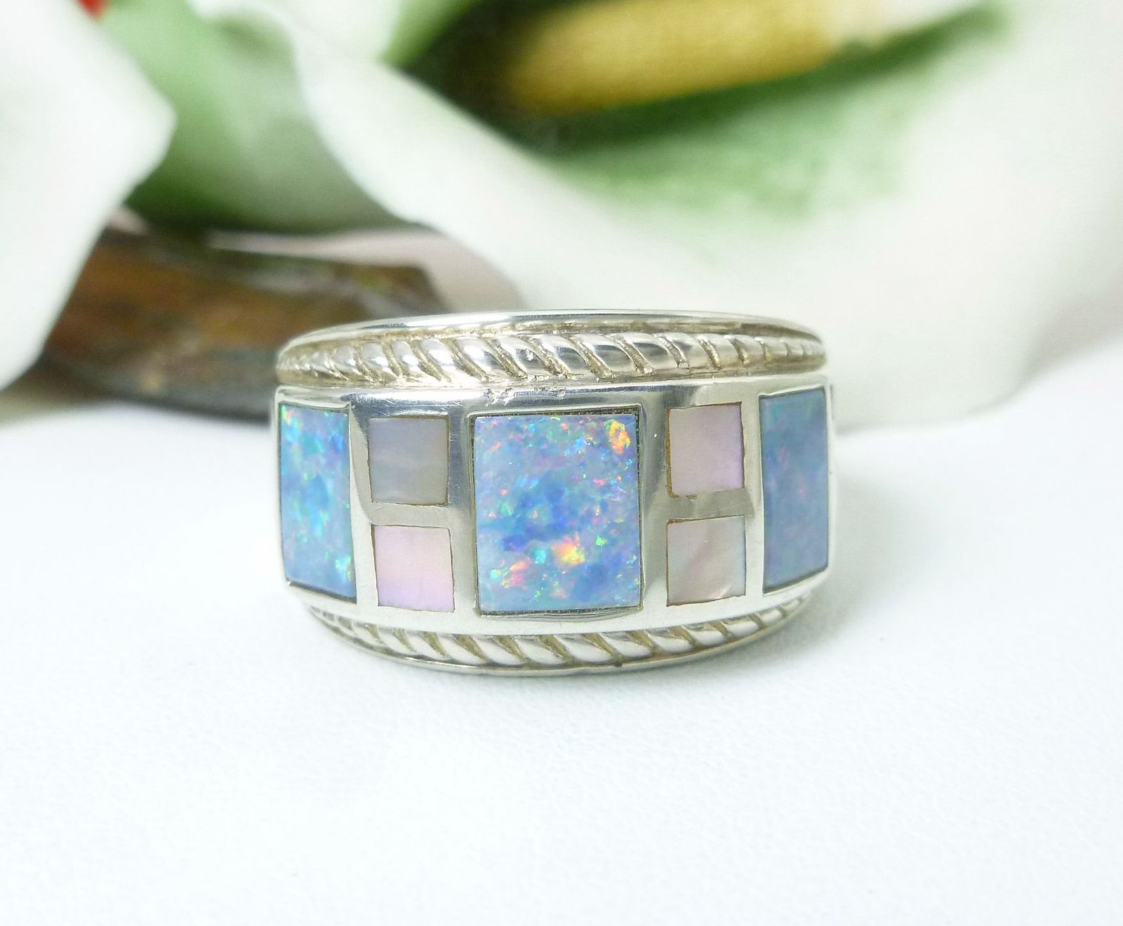 Australian Opal Doublet & Mother-of-Pearl Sterling Ring Size 7