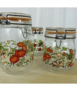 3 Arc France Vintage Glass Canister Storage Pantry Jars Tomatoes Mushroo... - $59.35