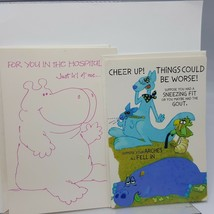 Vintage Hallmark Greeting Card Get Well Lot 2 Hippo Hippopotamus Coutts ... - $3.23