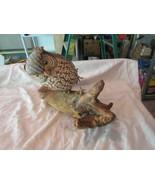 "Sorecca Owl , 11"" X 4"" X 10""  , Vintage , Owl On Wood Branch , Sculpture - $64.35"