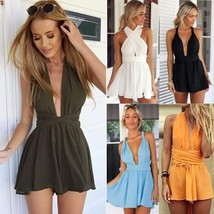 Zeagoo Women Sexy Back Cross Deep V Neck Backless Chiffon Jumpsuit - $29.58