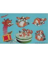 Vintage Postcard Beagle Puppies Cat Jack in the Box Tub of Water Unused ... - $5.93