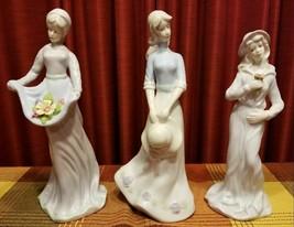 Vintage White Porcelain Lady Figurines 3 Pc Set - $45.00