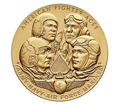 "American Fighter Aces Bronze Medal 1.5"" US Mint  Navy Army Air Force Mar... - $13.95"