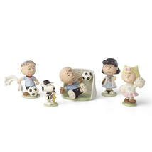 Lenox Peanuts Soccer Game Figurines Snoopy Charlie Brown Woodstock Goali... - $99.49