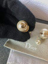 AUTH Christian Dior LIMITED EDITION MISE EN DIOR HALF PEARL EARRINGS  image 8