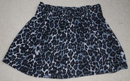 Gap Mini Skirt Juniors Medium Leopard Animal Print Black Gray Elastic Waist BTS - $21.00