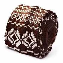 Frederick Thomas Strick SKINNY Braun/weiß Tie Weihnachts Pullover Style ft3391