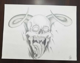 "9"" x 12"" Demon Skull with Horns Pencil Sketch Tattoo Design Original Dra... - $19.30"