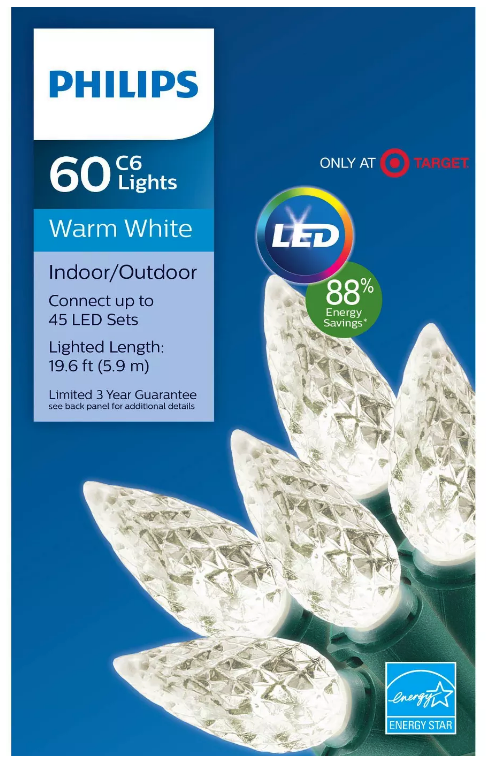 Philips 60 ct LED C6 Faceted String Lights in Warm White 19.6 FT Green Wire NEW