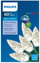 Philips 60 ct LED C6 Faceted String Lights in Warm White 19.6 FT Green Wire NEW image 1