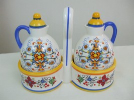 Tuscan Print Earthenware Oil Vinegar Bottles Cruet Set w Caddy Blue Yell... - $19.75