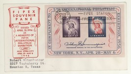 1956 Scott #1076 FIPEX Souvenir Sheet First Day Cover! C Stephen Anderso... - $5.99