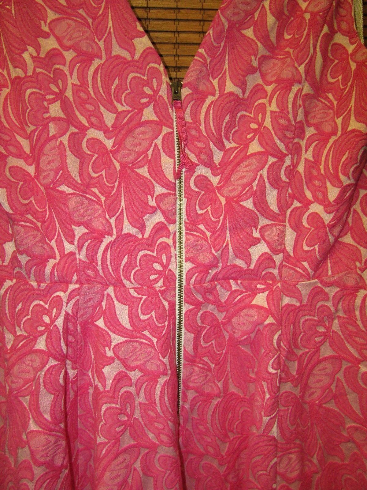 New Anthropologie Maeve  Swing Jacquard Pink Floral V-Neck Dress Sizes: 6  &  12