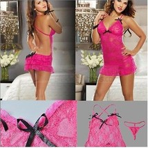 Sexy Lingerie Rose Sexy Lingerie Babydoll Nightwear Night Dress Rose NY054 - $14.73