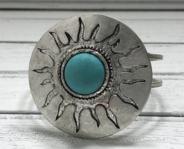 Sun Cuff Bracelet Coachella Boho Women Southwestern Style Silver Blue Hinge - $16.99