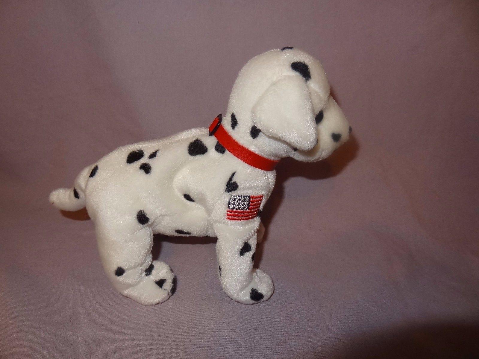 "Rescue Dalmatian Dog 2001 Ty Beanie Babies Plush Stuffed Animal 7"" long USA Flag"