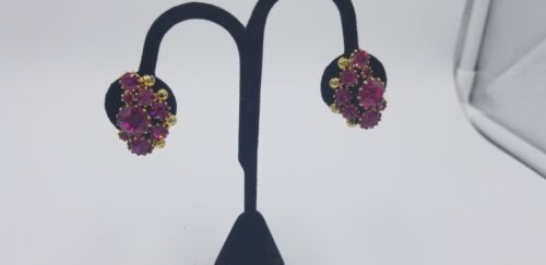 Primary image for Vintage Signed Weiss Purple Amethyst Rhinestone Gold Tone Balls Clip On Earrings