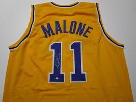 KARL MALONE / NBA HALL OF FAME / AUTOGRAPHED L.A. LAKERS CUSTOM JERSEY / COA image 1