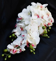 "Orchid and Lily Cascading Teardrop White Wedding Bouquet Big 20"" - $56.09"