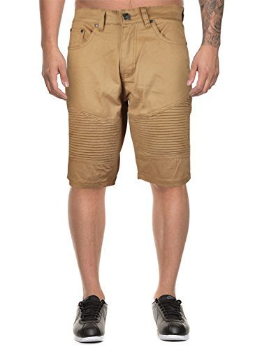 vkwear Men's Moto Biker Quilted Slim Fit Cotton Stretch Twill Shorts (30W, Khaki