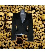 vintage black satin tuxedo jacket size small medium 6 female tux formal - $24.99