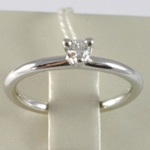 BAGUE EN OR BLANC 750 18K, SOLITAIRE, TIGE ROND, DIAMANT CT 0.12 image 2